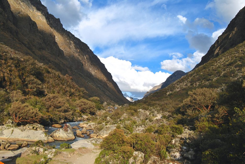 A river in a valley on the Santa Cruz Trek near Huaraz