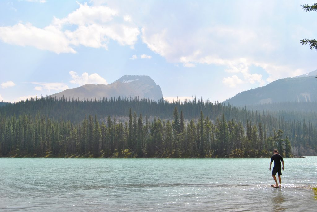 Brazeau Lake - a glacial paradise at the foothills of mountains