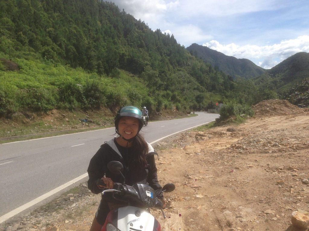 Motorbiking on mountain pass in Lao Cai, Vietnam