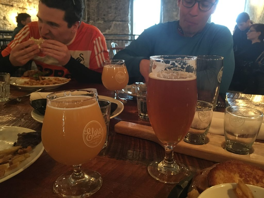 the Elora Brewing Company flight and tasty burgers