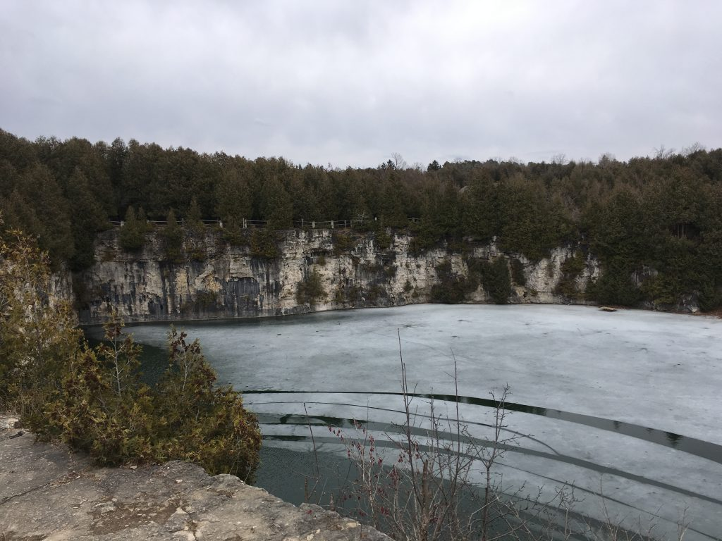 The Elora Gorge in Spring with ice still covering the water