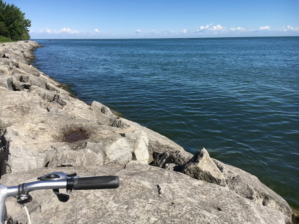 Bike at the waterfront at Niagara on the Lake on Lake Ontario